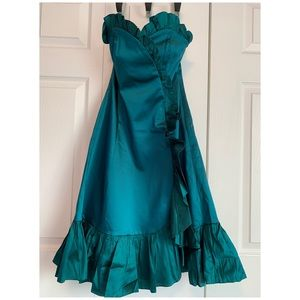 COAST UK bustier satin emerald dress